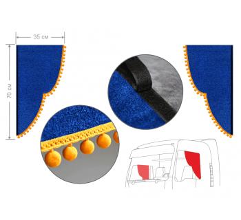 Комплект уголков синий с помпонами 35*70см