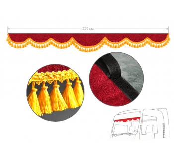 Ламбрекен на лобовое окно красный с кисточками 220см