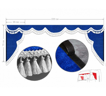 Ламбрекен лобового окна и уголки (Европа/Стандарт) синий