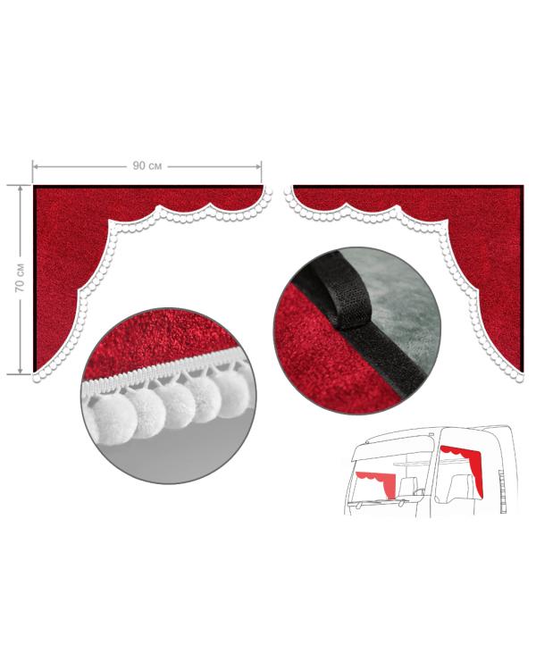 Комплект уголков красный с помпонами