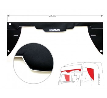 Комплект Ламбрекен лобового окна и уголки SCANIA (экокожа)