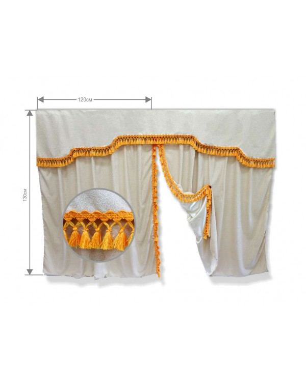 НЕТ БАХРОМЫ Комплект штор спального места с ламбрекеном (низкая кабина)