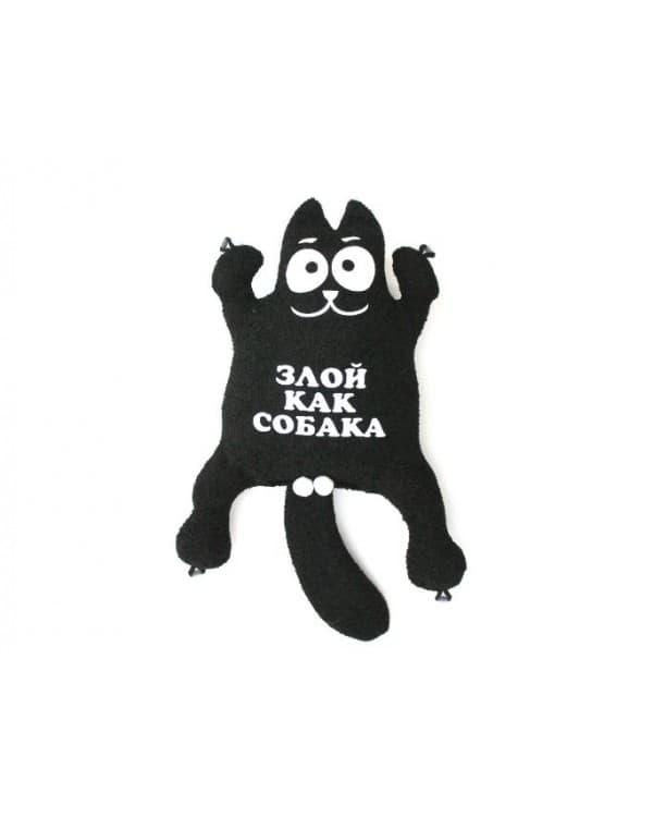 """Игрушка на присосках Кот """"Злой как собака"""" Черный"""