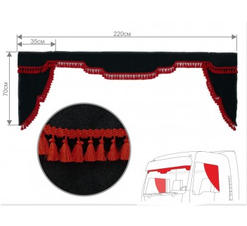 Комплект ламбрекен и уголки Черно-красный