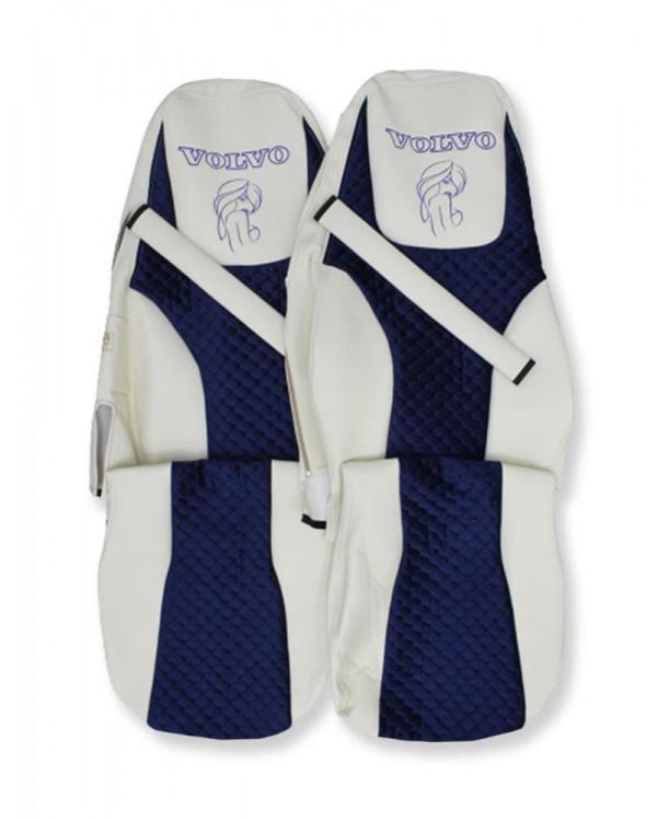 Чехлы VOLVO FH16 VS Синий велюр вышивка