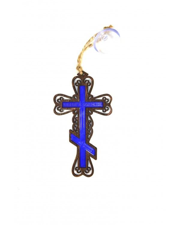 Подвеска Крест православный с цветной вставкой