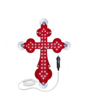 Крест православный красный светодиодный 10x15см