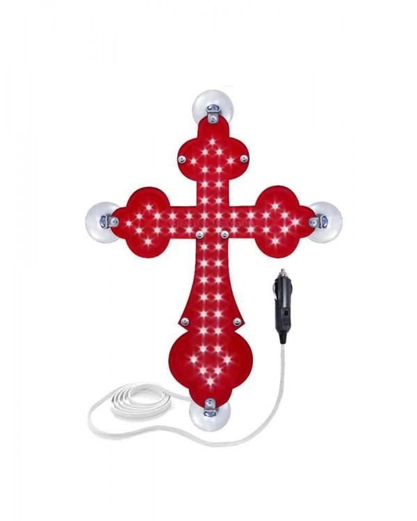 Крест православный красный светодиодный 21х30см