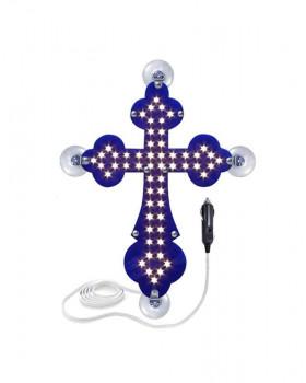 Крест православный синий светодиодный 21х30см