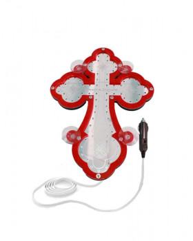 Крест православный светодиодный 23х32см красный кант