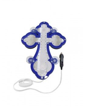 Крест православный светодиодный 23х32см синий кант