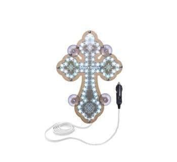 Крест белый православный светодиодный 23х32см