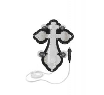 Крест православный светодиодный 23х32см черный кант