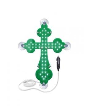 Крест православный зеленый светодиодный 21х30см