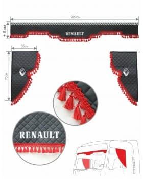 Ламбрекен и уголки черные с вышивкой RENAULT