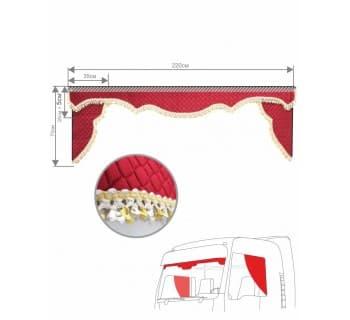 Комплект Ламбрекен и уголков из стеганого бархата