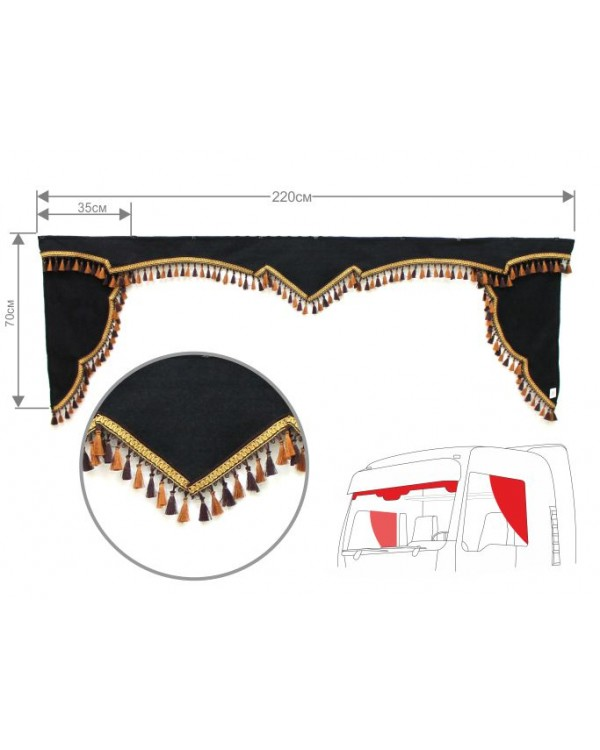Комплект Ламбрекен лобового окна и уголки (еврофуры)