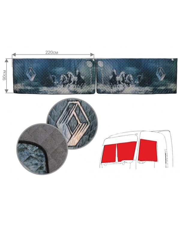 Шторы лобового окна для грузовых автомобилей с фотопечатью RENAULT «Кони под луной»