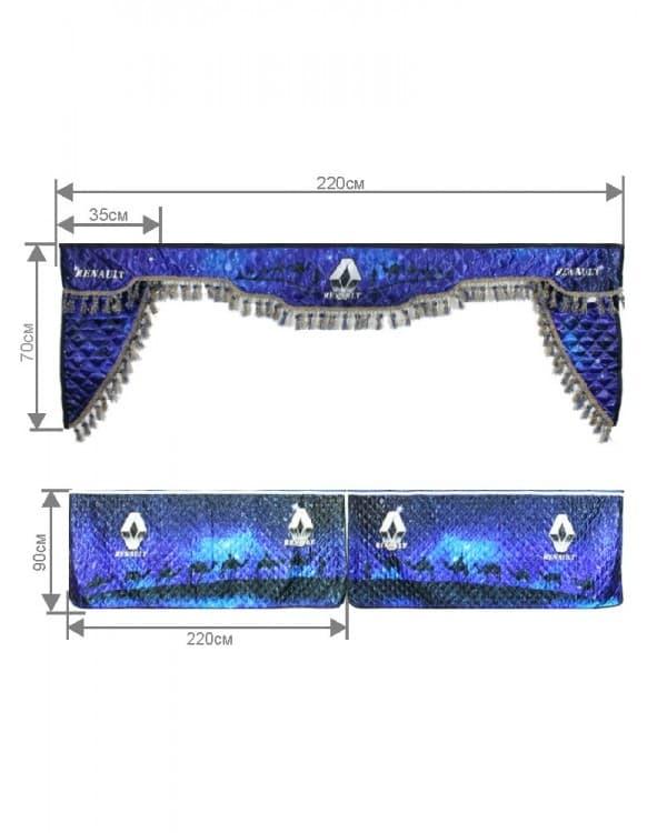 Комплект штор лобового окна ламбрекен и уголки с фотопечатью RENAULT «Караван»