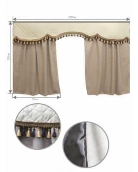 Шторы спального места с ламбрекеном Алоба/Экокожа
