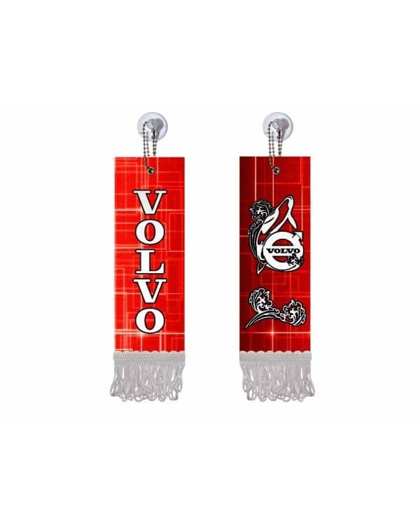 Вымпел прямоугольный VOLVO (5х15 см, красный белая бахрома)