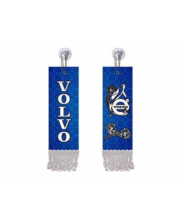 Вымпел прямоугольный VOLVO (5х15 см, синий белая бахрома)